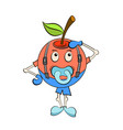 small apple with a dummy in mouth having fun vector image