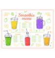 smoothie menu cold drinks summer shakes and vector image