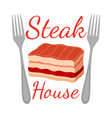 steak house logo label fork meat flat vector image