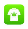 t-shirt with print of cannabis icon digital green vector image vector image