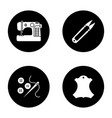 tailoring glyph icons set vector image