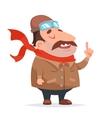 Thick Aviator Pilot Mascot Character Icon Retro vector image vector image
