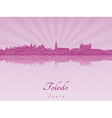 Toledo skyline in purple radiant orchid vector image vector image