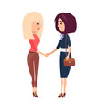 two women blonde and brunette shake hands greeting vector image