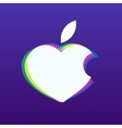 white apple in shape heart on a vector image