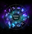 zodiac circle with astrological symbols vector image