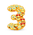 a set of emoticons shaped as three number vector image vector image