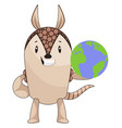 armadillo with planet earth on white background vector image vector image
