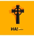 Burial tomb cross carved cut out of paper vector image