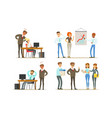 business people characters working in office vector image