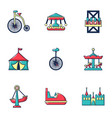 colored circus icons set flat style vector image