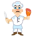 Cook with knife and ham in hand vector image vector image