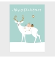 Cute Christmas greeting card invitation Reindeer vector image vector image