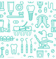 dentist orthodontics blue seamless pattern with vector image vector image