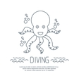 Diving icon with octopus and bubbles vector image vector image