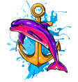 dolphin around an anchor with a rope an ancient vector image vector image