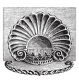 engraving is in the style of a sea shell vintage vector image