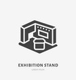 exhibition banner stand flat glyph icon trade vector image vector image