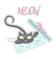 Fashion patch badges with Kitten vector image