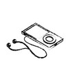 figure technology mp3 with headphones to listen to vector image vector image