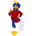 Genie in red shirt came out of lamp vector image vector image