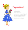 greeiting card with kid and flowers for the vector image vector image