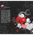 Grunge background with hearts vector image