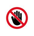 hand forbidden stop icon warning symbol vector image vector image