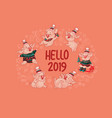 hello 2019 horizontal banner with cute pig vector image vector image