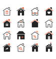 house icons exterior home images flat outlined vector image vector image