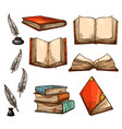 icons of old books and manuscripts sketch vector image vector image