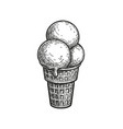 ink sketch ice cream cone vector image vector image