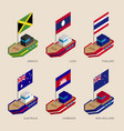 isometric ships with flags vector image vector image