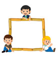 kids on the wood frame with roots and leaf vector image vector image