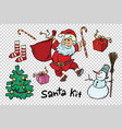 kit santa set christmas new year items and vector image vector image