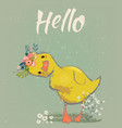 little duckling with a floral wreath vector image