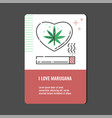 loving marijuana vertical banner with line icon of vector image vector image