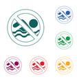 no swimming prohibition sign icon vector image
