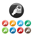 pay by credit card icons set color vector image