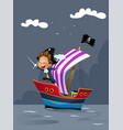 pirates on ship in the sea vector image