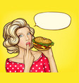 pop art girl with burger licking finger vector image vector image