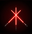 red crossed light swords isolated on dark vector image