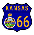 route 66 kansas sign and flag vector image vector image
