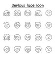 serious face icon set in thin line style vector image
