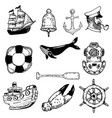 set hand drawn nautical elements design vector image