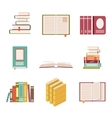 set nine book icons in flat design style vector image vector image