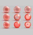 set of transparent and opaque red spheres vector image vector image