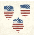 shield shaped american flag set vector image vector image