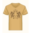 shirt template with heraldry coat fame vector image vector image