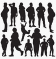 silhouettes fat people vector image